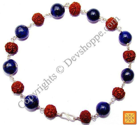 Rudraksha and Lapis Lazuli (Lapiz) Combination Bracelet - Devshoppe