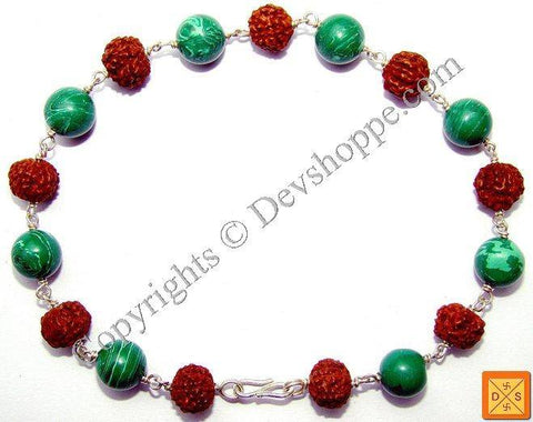 Rudraksha and Malachite Combination Bracelet - Devshoppe