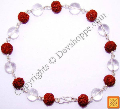 Rudraksha and Quartz Crystal Combination Silver Bracelet - Devshoppe