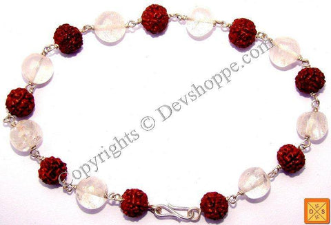 Rudraksha Rose Quartz Combination Bracelet - Devshoppe