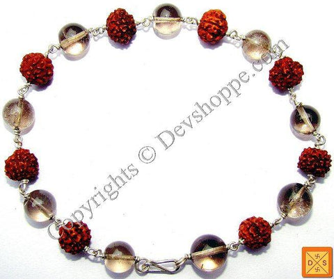 Rudraksha Smokey Quartz Combination Bracelet - Devshoppe