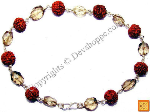 Rudraksha Smokey Quartz faceted beads Combination Bracelet in Silver - Devshoppe
