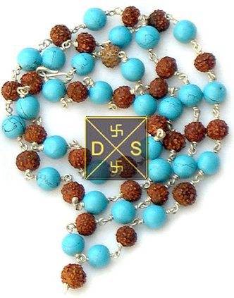 Rudraksha Firoza (Turquoise) Rosary in Silver - Devshoppe