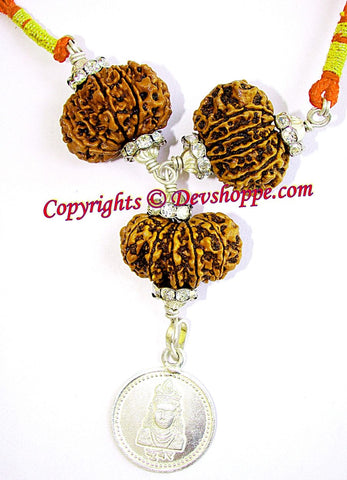 Rudraksha Kuber yantra combination pendant for financial gains and wealth - Devshoppe