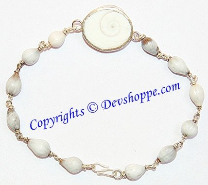 Gomti Chakra bracelet with Vaijanti beads in pure Silver - Devshoppe - 1