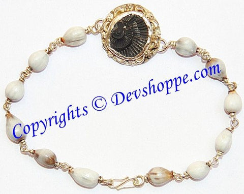 Shaligram Sudarshan shila bracelet in pure silver with Vaijanti beads - Devshoppe - 1