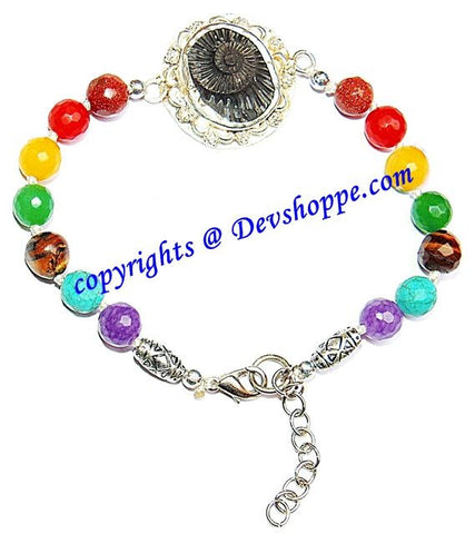 Shaligram Sudarshan Shila bracelet in pure silver with Chakra beads - Devshoppe - 1