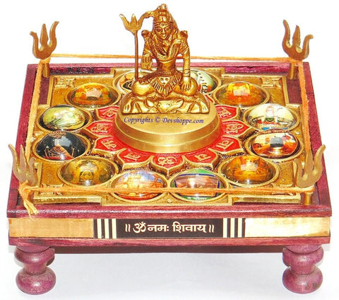 Sampurn 12 Jyotirlinga Chowki with Shiva idol - Devshoppe - 1