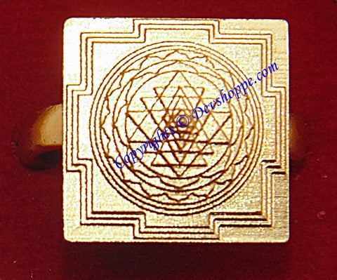 Meru 3D yantra (Sriyantra) ring in Brass ~ Fully Adjustable - Devshoppe