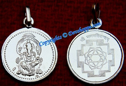 Sri Ganesha Silver Pendant for goodluck and success - Devshoppe