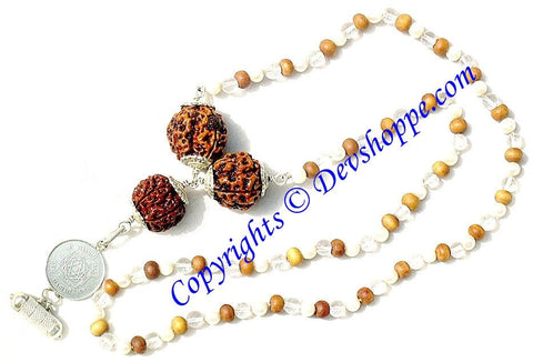 Saraswati Rudraksha Bandh with Saraswati yantra in Sandal , Sphatik and Pearl combination mala - Devshoppe