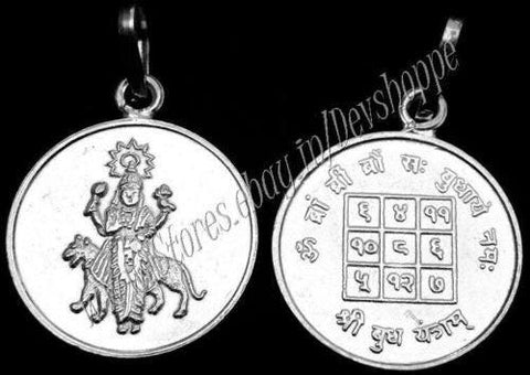 Sri Budh (Mercury) yantra pendant in silver round shaped - Devshoppe