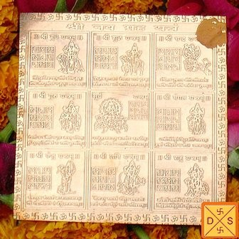Sri Navagrah yantra on copper plate - Devshoppe