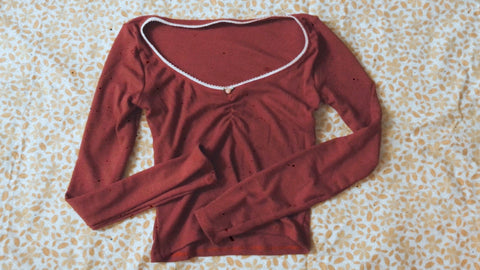 Dark Red Waffle Top