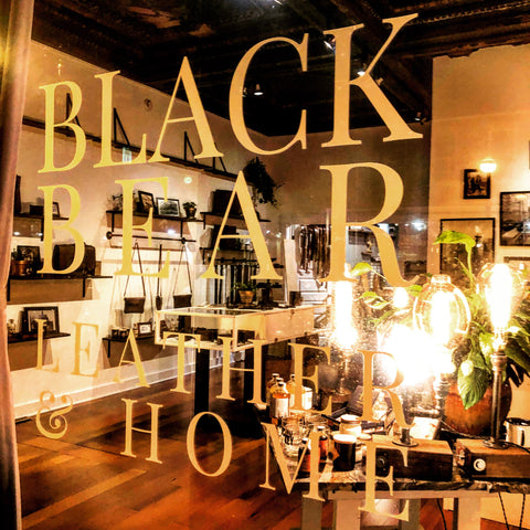 Black Bear Leather & Home. Window Sign. Front Window. Retail Display.