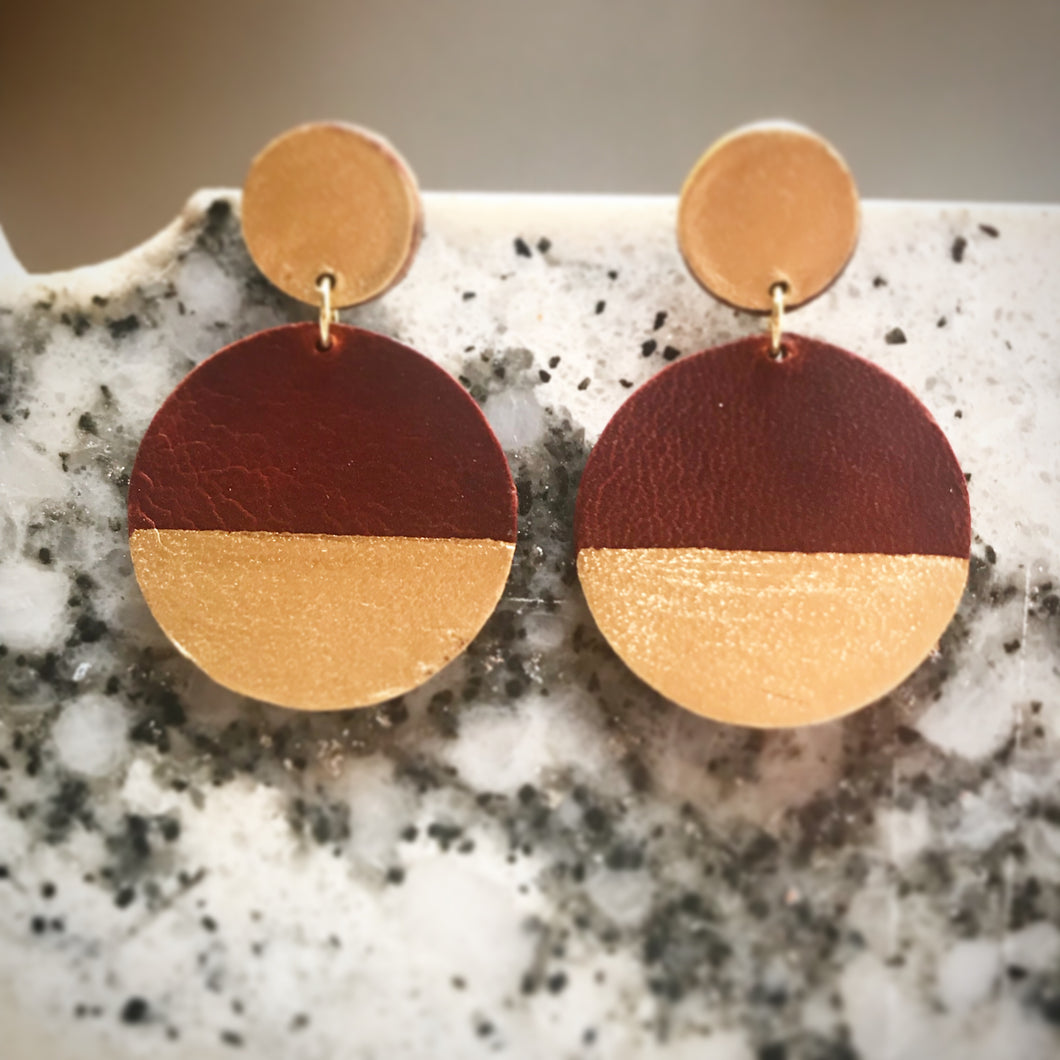 Leather Earrings - Gold Geometric Posts