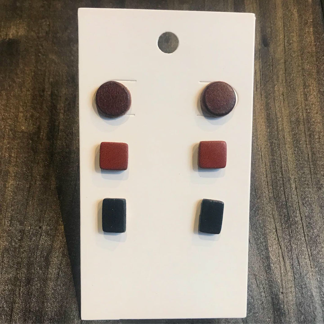 Leather Earrings- Set of 3 Studs
