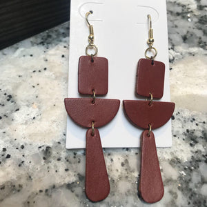Leather Drop Earrings- Geometric