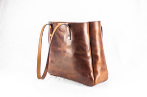 Angle View Atlantic Leather Tote Bag: Black Bear