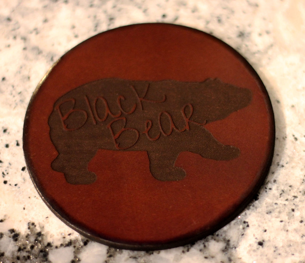 Leather Coaster: Black Bear Graffiti