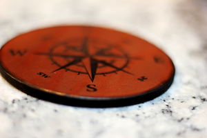 Leather Coaster: Compass Rose