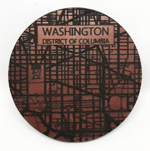 Leather Coaster: Map of Washington, District of Columbia