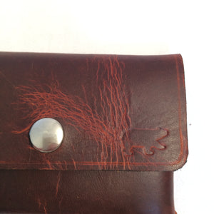 Closeup Leather Business Card Holder: Black Bear
