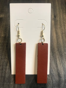 Leather Drop Earrings- Bar