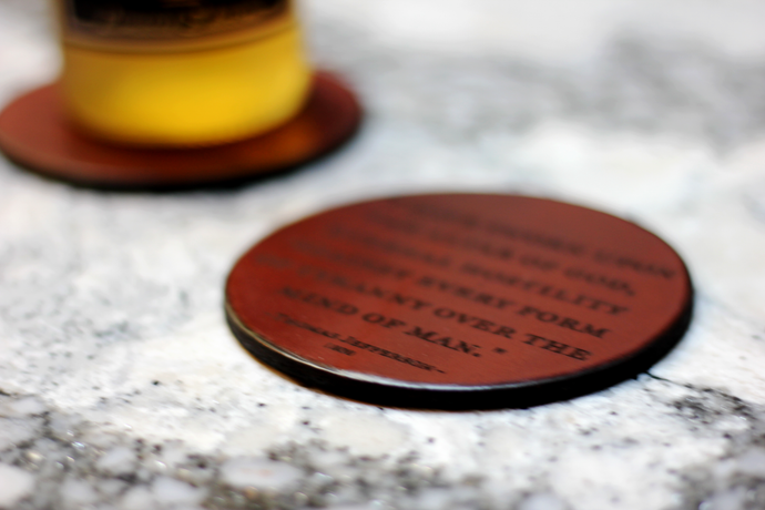 Leather Coaster: T. Jefferson, A Little Rebellion Is A Good Thing