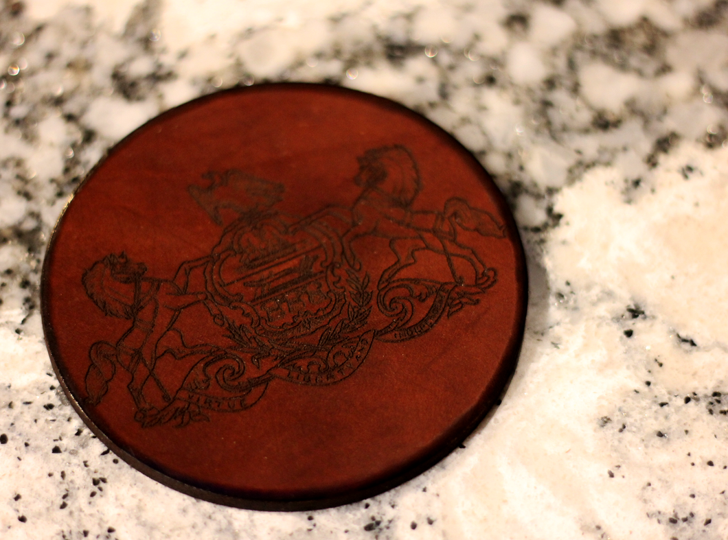 Leather Coaster: Coat of Arms Pennsylvania