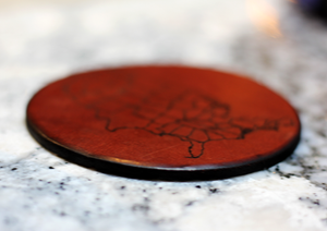 Map of the United States: Leather Coaster