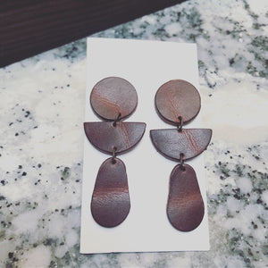 Leather Earrings- Geometric Posts