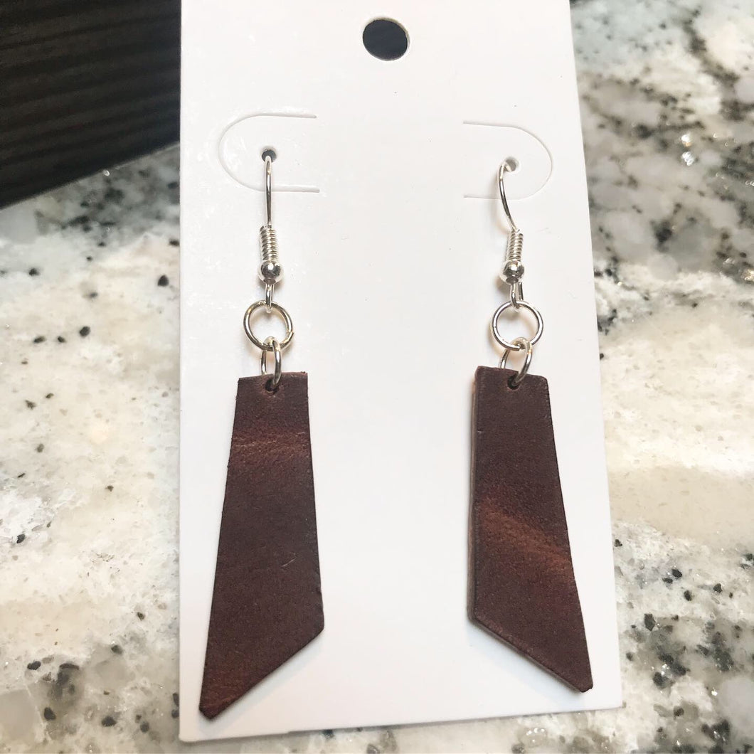 Leather Drop Earrings- Angular