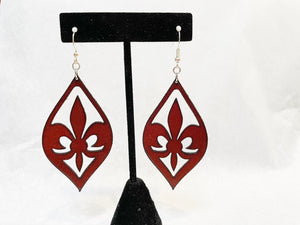 Leather Earrings: 'Fleur De Lis'