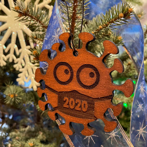 Wood Ornament: 2020 Germ in a Mask