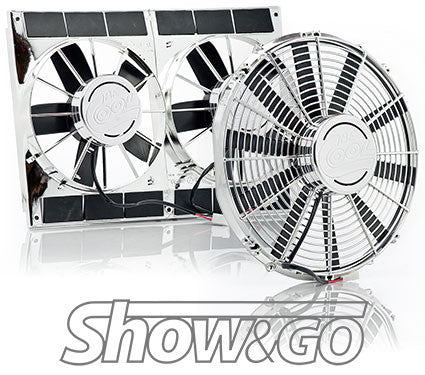 Chrome Fans & Stainless Shrouds with Billet Covers