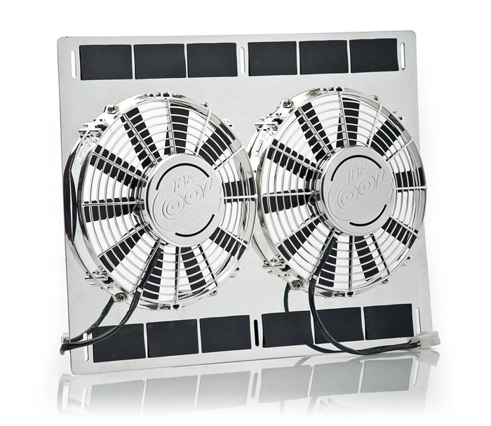 "12"" Show & Go Stainless Shroud 26""W x 17""H w/Dual Chrome Puller Fans"