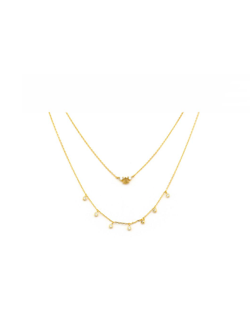 Tai Layered Gold Grey Moon Necklace P