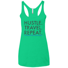 Hustle. Travel. Repeat. | Ladies' Triblend Racerback Tank