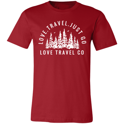 Love. Travel. Just Go. (Unisex) Jersey Short-Sleeve Crew T-Shirt