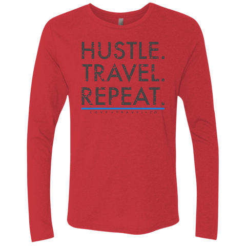 Hustle. Travel. Repeat. | Men's Premium Triblend Long Sleeve Tee