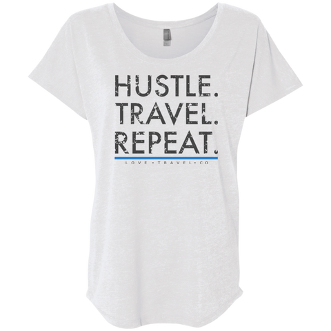 Hustle. Travel. Repeat. | Ladies' Premium Triblend Dolman Sleeve