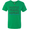 Image of Hustle. Travel. Repeat. | Men's Triblend V-Neck T-Shirt