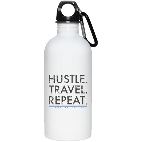 Hustle. Travel. Repeat. | Stainless Steel Water Bottle