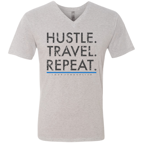 Hustle. Travel. Repeat. | Men's Triblend V-Neck T-Shirt