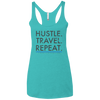 Image of Hustle. Travel. Repeat. | Ladies' Triblend Racerback Tank