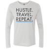 Image of Hustle. Travel. Repeat. | Men's Premium Triblend Long Sleeve Tee