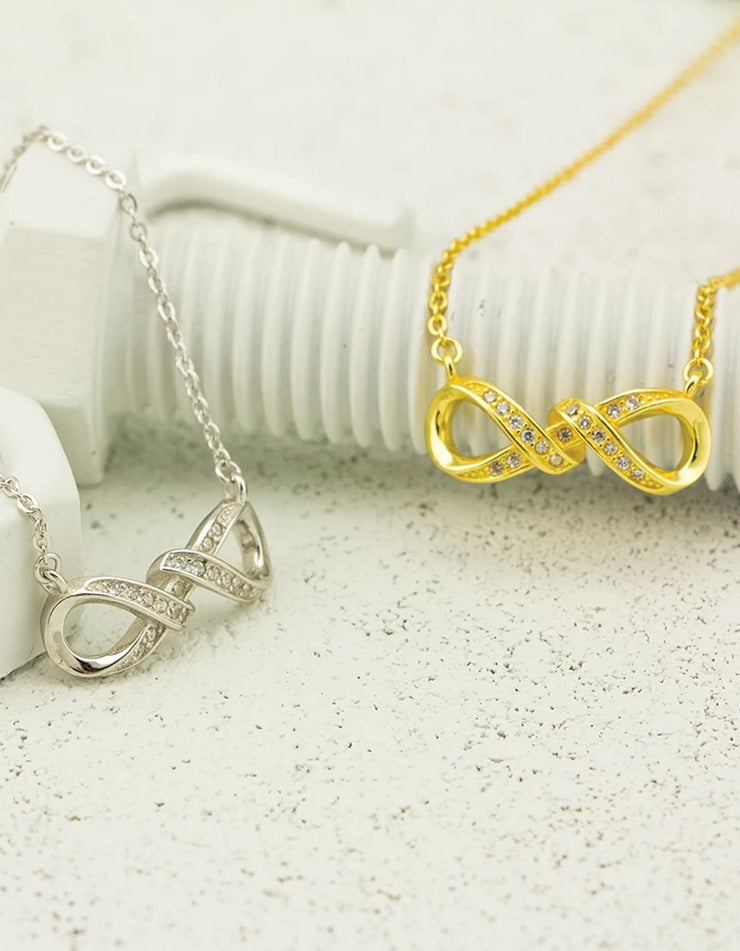"""Sterling Silver Infinity Necklace Gold Finsh Cubic Zirconia 18/"""""""