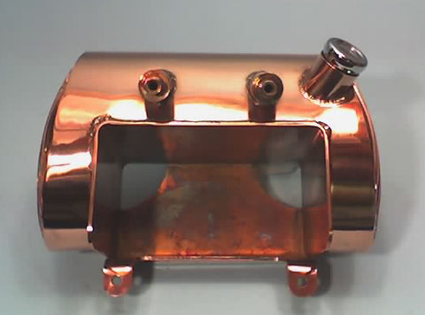 Tapered oval oil tank for Harley-Davidson Softail 1999 and under, copper plated finish