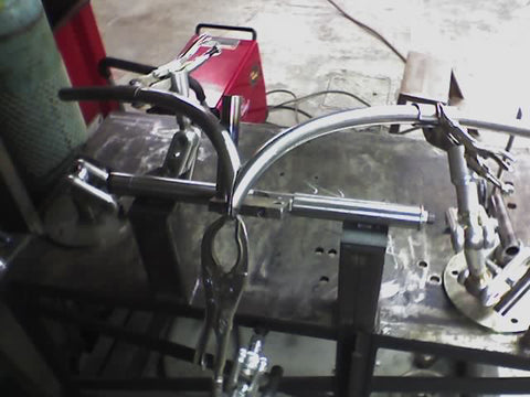 Custom Harley-Davidson handlebars being fabricated using MXC's Jig-Mate.